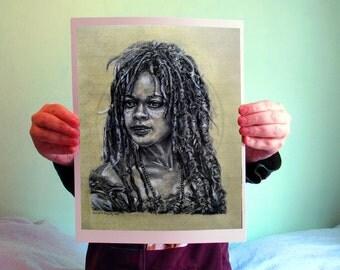 Tia Dalma / Calypso - Pirates of the Caribbean, 8x10, Matte PRINT or CUSTOM Charcoal Art on Bamboo Paper, PotC
