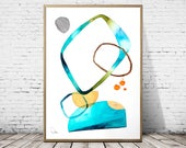 Abstract painting, watercolor, original painting, home decor, blue painting, geometric painting, minimalist, gold, wall art, wall decor I