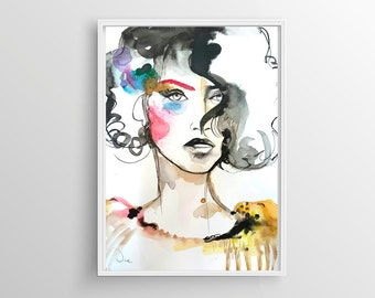 Watercolor illustration,original art ,original illustration,fashion illustration, Modern Art,  A3 , woman illustration