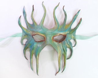 Leather Mask Mermaid Merman Ocean Creature Fairy Poseidon Black Tie to Burning Man