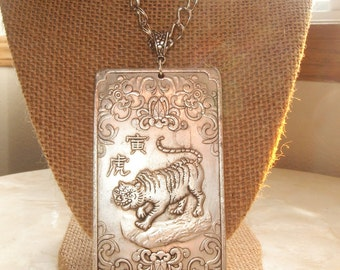 Large Thangka Pendant Necklace with Carved Tiger, Decorative, Other Side Zodiac, Heavy, Amulet, Gift for Her, Bohemain, Gypsy, Asian, USA