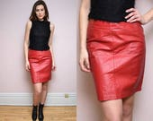 Vintage 90s Red Leather Pencil Skirt- Size L XL