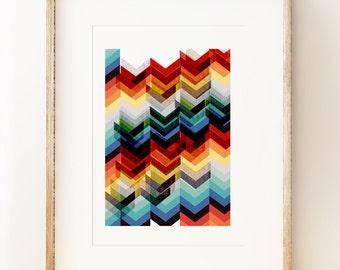 Chevron Multicolour - abstract wall art print