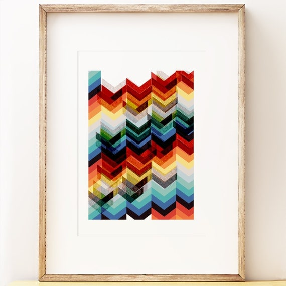 Chevron Multicolour - abstract wall art print