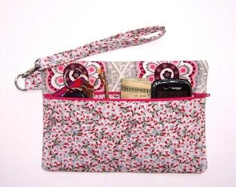 Maroon Floral Wristlet Purse, Grey Pink Makeup Bag, Cream Maroon IPhone Smart Phone Case, Small Zippered Clutch in Flower Print, Gadget Bag