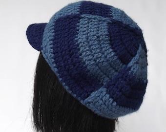 Blue Newsboy Cap, Visor Hat, Crochet Newsboy Cap, 70's Cap, Retro Cap On Sale