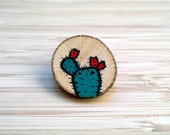 Prickly pear wooden brooch with handpainted cactus illustration