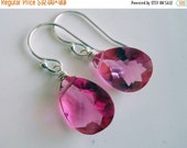 BLACK FRIDAY 15% OFF, Petunia Pink earrings, Lever back and metal options, pink dangle earrings, pear cut, bright pink, quartz earrings, gem