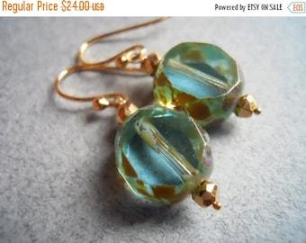 FLASH SALE 20% OFF, Blue Czech Glass Earrings, Cool Breeze, Czech Glass with Picasso Finish Earrings, aqua earrings, czech glass earrings, b