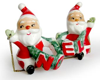 Santa NOEL Set of Candle Huggers 1950s Christmas Decorations Napco Porcelain Figurines / Candle Climbers