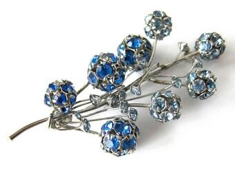 Vintage Blue Rhinestone Brooch / Sprig of Sparkling Spheres of Blue Rhinestones on Silver Wire / Vintage Brooch