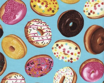 Tossed Donuts Aqua Color ~ Timeless Treasures Collection, Cotton Quilt Fabric