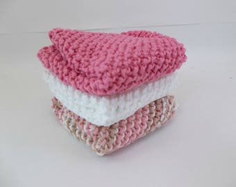 Knit Cotton Cloths Rose Pink Variegated and White  Cotton Wash Dish Cloths Set of 3