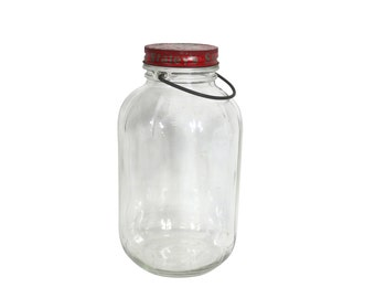 Glass Bottle | Vintage Starch | Storage Container | Handle and Lid | Retro Laundry