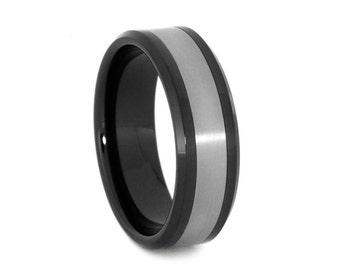 Black Ceramic Wedding Band With Titanium, Black Ring, Men or Womens Titanium Ring, Personalized Jewelry