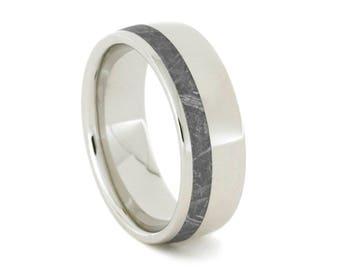 Gibeon Meteorite Wedding Band, Platinum Ring For Men, Handmade Meteorite Jewelry