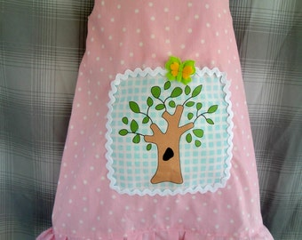 PINK Polka Dots Jumper/Dress with Tree Applique