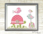 Children art nursery decor - baby nursery print - kids art - kids room decor - nursery wall art - Bird - Turtle - La Balade print