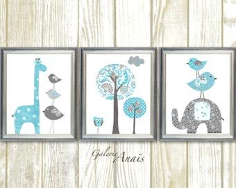Blue and gray elephant giraffe bird Tree Nursery art print baby nursery decor nursery print Kids art Set of three prints
