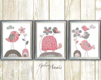 Pink gray Nursery art Baby Girl nursery Decor baby nursery kids wall art print turtle nursery Birds nursery Children's art - Set of 3 prints