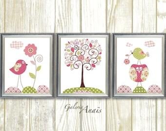 Owl Nursery Art Baby Girl Nursery Decor Owl nursery wall art Bird Nursery Tree art pink and green nursery Chic And Shabby  - Set of 3 prints