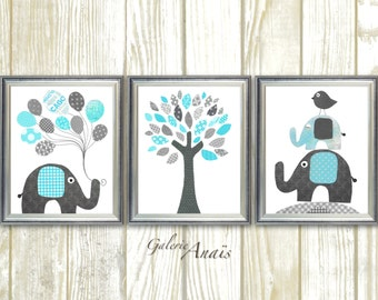 Blue and gray elephant bird Tree Nursery art print baby nursery decor nursery print Kids art Set of three prints 8x10 or 11x14