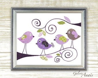 Nursery art prints - baby nursery decor - nursery art - children print - baby art - bird nursery - Purple - Gossip Birds print