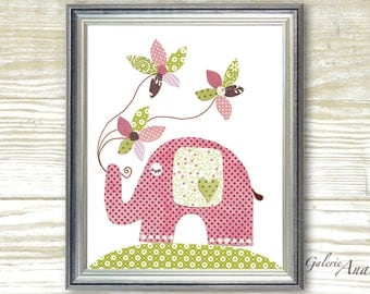 Elephant nursery Baby girl Nursery Decor children's art  Baby nursery art Kids wall art Flowers nursery - In The Wind