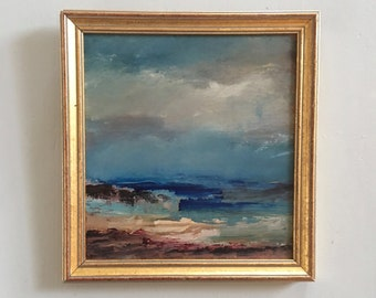 Beach Art- Framed- Small Painting - Original Painting- 7-1/2 x 8 approx. inch - including Frame -  Collectible - Fine Art