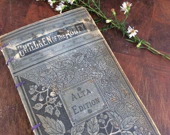 Antique book journal with blank pages by Binding Bee