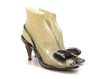 Vintage 60s Shoes Striped Silk Clear Plastic Vinyl Slingback Heels Sandals 7 - 8 narrow