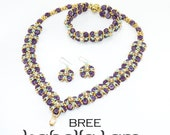 BREE HoneyComb and Swarovski Roses Montees Beadwork SET Necklace Bracelet and Earrings  Pdf tutorial instructions for personal use only
