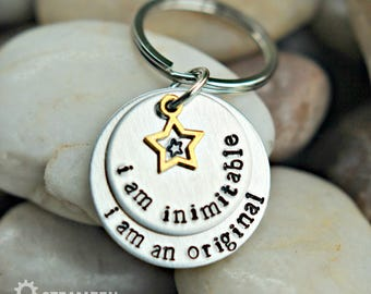 "Hamilton ""I'm Inimitable I'm an Original"" Hand stamped Key Chain - Hamilton Fan - Hamilfan Gift"