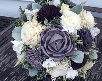 Purple, eggplant and lavender Wedding Bouquet - sola flowers - Customize colors  - Alternative bridal bouquet - bridesmaids bouquet