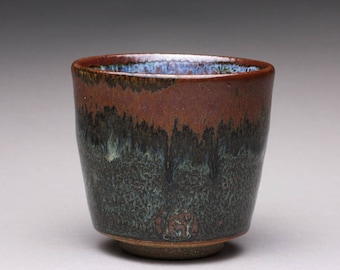 handmade pottery cup, ceramic teacup, yunomi with light blue and brown green wood ash glazes