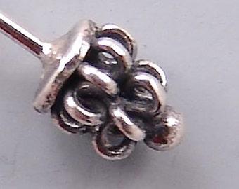 Bali Sterling Silver Headpins B454 (4), Bali Headpins, Coiled Sterling Silver Head Pins, Sterling Headpins, Fancy Headpins