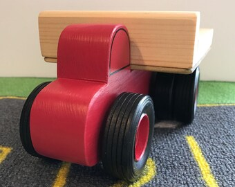 Toy Farm Work Truck Red with Dual Wheel on Rear - Handcrafted Toy Wood Red  Farm Work Truck with Dual Wheels on rear - Hauler Truck