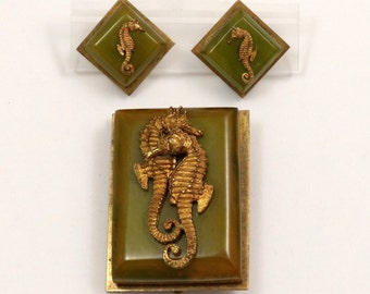 Vintage French Art Deco Seahorse Dress Clip and Clip On Earrings Set, Green Bakelite