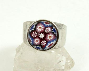Vintage Scottish Caithness Glass Ring, Sterling Silver, Millefiori Glass, Edinburgh Hallmarked 1977, US Size 7-1/2, UK Size O-1/2