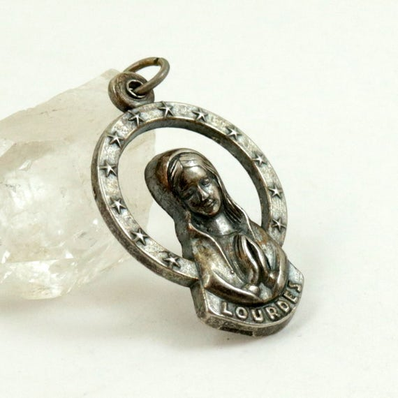 Vintage Our Lady of Lourdes Pendant, Virgin Mary