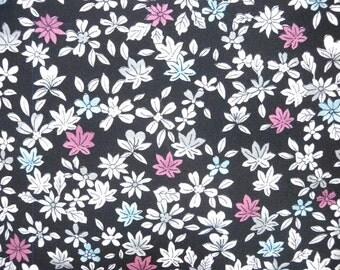 Vintage kimono S298, black floral