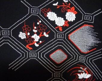 Vintage haori S306, black, embroidery,