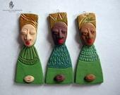 Tres Reinas- 3 Queens Ornament Set - Green