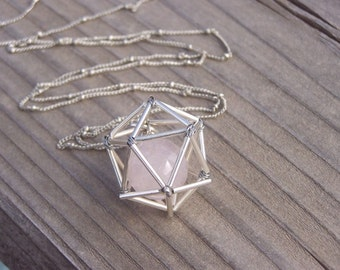 NEW! Geometric Necklace - Icosahedron - Rose Quartz- Silver Tones
