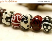 ON SALE 45% OFF Seven Red/Black/Ivory Rondelle Beads - Handmade Glass Lampwork Bead Set 10301501