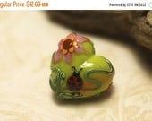 ON SALE 50% OFF Ladybug on Spring Green Heart Focal Bead - Handmade Glass Lampwork Bead 11833105