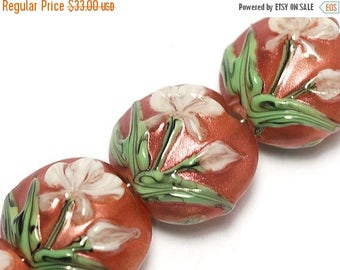 ON SALE 40% OFF Glass Lampwork Bead Set - Four Ivory Mist Flower on Coral Lentil Beads 10706212