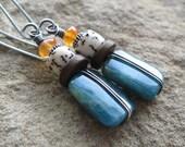 Blue Green Apatite Betelnut Carnelian Sterling Silver Earrings