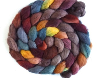 Organic Polwarth Roving - Handpainted Spinning or Felting Fiber, Banked Fire
