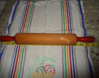 Vintage Kitschy Baking Rolling Pin with Red Handle